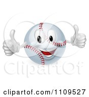 Clipart 3d Happy Baseball Mascot Holding Two Thumbs Up Royalty Free Vector Illustration
