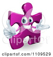 Clipart Happy Purple Jigsaw Puzzle Piece Mascot Holding A Thumb Up Royalty Free Vector Illustration by AtStockIllustration