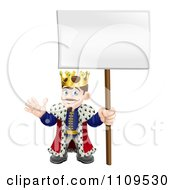 Happy King Waving And Holding A Sign