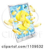 Clipart 3d Smart Cellphone With Coins And A Dollar Symbol Bursting From The Screen Royalty Free Vector Illustration
