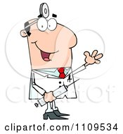 Clipart Happy Caucasian Male Doctor Holding A Syringe And Waving Royalty Free Vector Illustration by Hit Toon