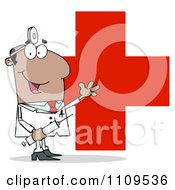 Clipart Happy Black Male Doctor Holding A Syringe And Waving Over A Red Cross Royalty Free Vector Illustration by Hit Toon
