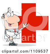 Clipart Happy Caucasian Male Doctor Holding A Syringe And Waving Over A Red Cross Royalty Free Vector Illustration by Hit Toon