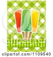 Clipart Fruit Popsicles Over Green Gingham Royalty Free Vector Illustration by elaineitalia