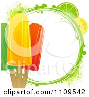 Clipart Fruit Popsicles With Citrus Slices And A Green Grunge Circle Royalty Free Vector Illustration