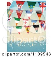 Clipart National Flag Bunting Banners Over A Grungy Crowd Royalty Free Vector Illustration by elaineitalia
