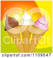 Clipart Strawberry Vanilla And Chocolate Ice Cream Cones Over Swirls Royalty Free Vector Illustration