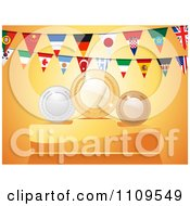 Clipart National Flag Bunting Flags And First Second And Third Place Awards Royalty Free Vector Illustration by elaineitalia