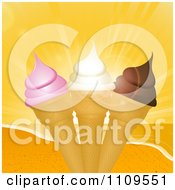 Clipart Strawberry Vanilla And Chocolate Ice Cream Cones And A Beach Sunset Royalty Free Vector Illustration