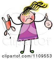 Clipart Stick Girl Holding A Broken Doll Royalty Free Vector Illustration by Prawny