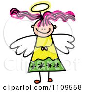 Clipart Stick Angel Girl With Pink Hair Royalty Free Vector Illustration