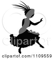 Clipart Silhouetted Woman Running And Wearing A Fancy Hat Royalty Free Vector Illustration by Prawny Vintage