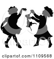Clipart Silhouetted Little Girls Dancing And Playing With A Doll Royalty Free Vector Illustration by Prawny Vintage