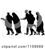 Clipart Silhouetted Group Of Beggars Walking Royalty Free Vector Illustration