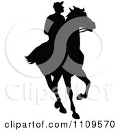 Clipart Silhouetted Jockey On A Horse - Royalty Free Vector Illustration by Prawny Vintage #COLLC1109570-0178
