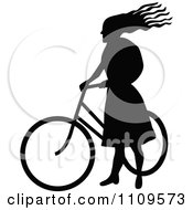 Clipart Silhouetted Woman Standing With A Bicycle Royalty Free Vector Illustration by Prawny Vintage
