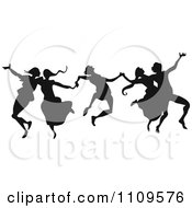 Clipart Silhouetted Group Of Dancers Leaping Royalty Free Vector Illustration
