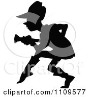Clipart Silhouetted Man Creaping Forward And Holding A Gun Royalty Free Vector Illustration
