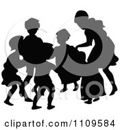 Clipart Silhouetted Children Playing Ring Around The Rosie Royalty Free Vector Illustration by Prawny Vintage