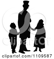 Clipart Silhouetted Single Father And Children Royalty Free Vector Illustration
