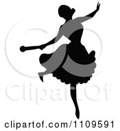 Clipart Silhouetted Ballerina Dancing 5 Royalty Free Vector Illustration