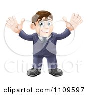 Clipart Welcoming Businessman Waving With Both Hands Royalty Free Vector Illustration