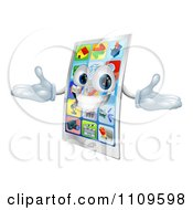Clipart 3d Happy Touch Screen Cell Phone Mascot Royalty Free Vector Illustration