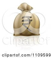 Money Bag With A Rupee Symbol And Reflection