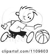 Clipart Black And White Sticker Basketball Player Boy Dribbling Royalty Free Vector Illustration