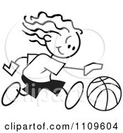 Clipart Black And White Sticker Basketball Player Girl Dribbling Royalty Free Vector Illustration