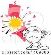 Clipart Moodie Character Plugging His Ears By A Firecracker Royalty Free Vector Illustration