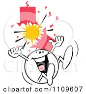 Clipart Happy Moodie Character Jumping By A Firecracker Royalty Free Vector Illustration