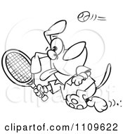 Clipart Outlined Dog Swinging A Tennis Racket Royalty Free Vector Illustration