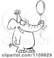 Clipart Outlined Happy Birthday Elephant Holding A Balloon Royalty Free Vector Illustration
