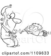 Clipart Outlined Father Greeting His Excited Son With Open Arms Royalty Free Vector Illustration