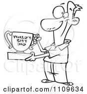 Clipart Outlined Father Proudly Holding A Worlds Best Dad Trophy Cup Royalty Free Vector Illustration