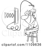 Clipart Outlined Man Attached To An E Learning Machine Royalty Free Vector Illustration