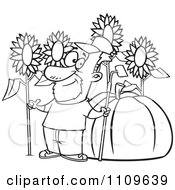 Clipart Outlined Green Thumb Farmer With Sunflowers And A Giant Pumpkin Royalty Free Vector Illustration