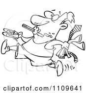 Clipart Outlined Rushed Man Brushing His Teeth And Trying To Get Dressed Royalty Free Vector Illustration