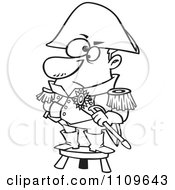Clipart Outlined Short Captain Standing On A Stool Royalty Free Vector Illustration