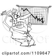 Clipart Outlined Stressed Businessman Viewing A Recession Chart Royalty Free Vector Illustration