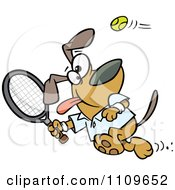 Clipart Dog Swinging A Tennis Racket Royalty Free Vector Illustration