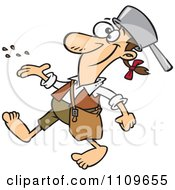 Clipart Happy Johnny Appleseed Tossing Seeds Royalty Free Vector Illustration