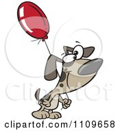 Clipart Dog Carrying A Birthday Balloon Royalty Free Vector Illustration by toonaday