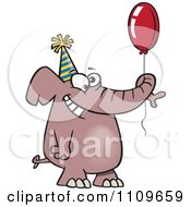 Clipart Happy Birthday Elephant Holding A Balloon Royalty Free Vector Illustration by toonaday