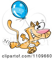 Clipart Happy Cat Running With A Birthday Balloon Royalty Free Vector Illustration