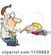 Clipart Father Greeting His Excited Son With Open Arms Royalty Free Vector Illustration by toonaday