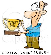 Clipart Father Proudly Holding A Worlds Best Dad Trophy Cup Royalty Free Vector Illustration by toonaday