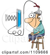 Clipart Man Attached To An E Learning Machine Royalty Free Vector Illustration