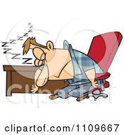 Clipart Exhausted Man Dozing At His Desk Royalty Free Vector Illustration by toonaday